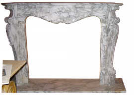 Fireplace in Marmo Bianco di Carrara Arabescato F-1278