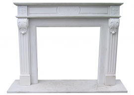 Fireplace in Marmo Bianco di Carrara F-AB2